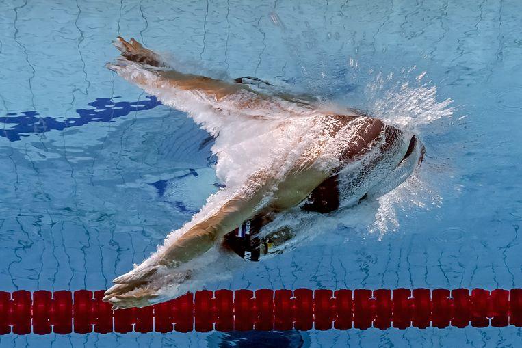 Maud van der Meer op de 100 meter vrije slag, WK Boedapest, 27 juli 2017. Beeld AFP