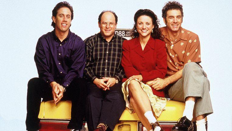 De cast van Seinfeld: Jerry Seinfeld, Jason Alexander, Julia Louis Dreyfus, Michael Richards Beeld anp