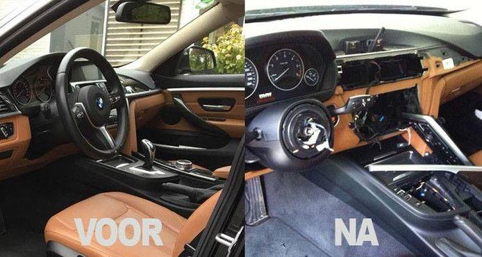 Voorbeeld van hoe eerder een BMW werd gestript.