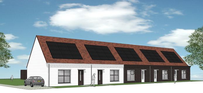De nieuwe woningen die komen langs de Dishoekseweg in Koudekerke