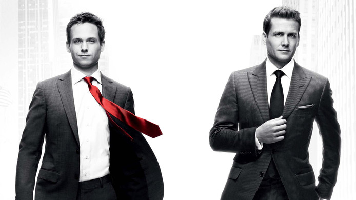 Mike Ross en Harvey Specter in de serie Suits.