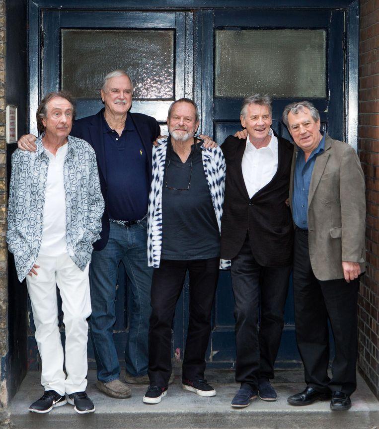 Eric Idle, John Cleese, Terry Gilliam, Michael Palin en Terry Jones van Monty Python in 2014.