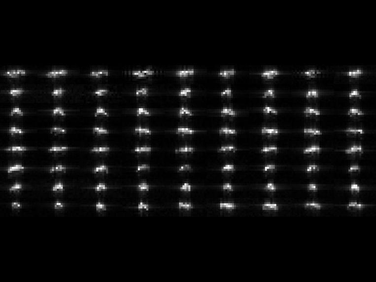 72 losse radarbeelden van de planetoïde. Beeld Nasa