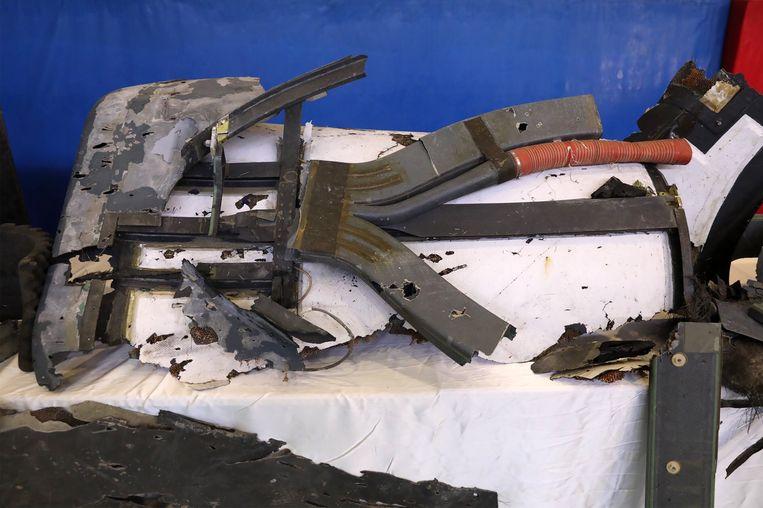 De restanten van de Amerikaanse drone die door Iran uit de lucht werd geschoten.