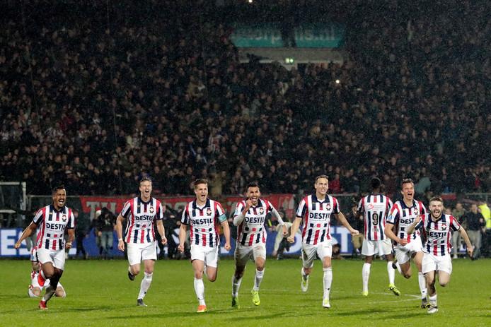 Willem II nadat de vierde strafschop van AZ op de paal is geschoten en een plek in de finale zeker is. (archiefbeeld)