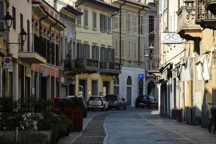 Verlaten straten in Codogno in Italië