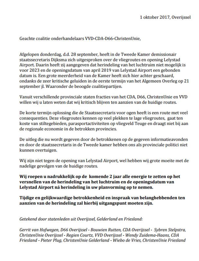 De brief die namens verschillende partijen uit de Provinciale Staten van Friesland, Gelderland en Overijssel is gestuurd.