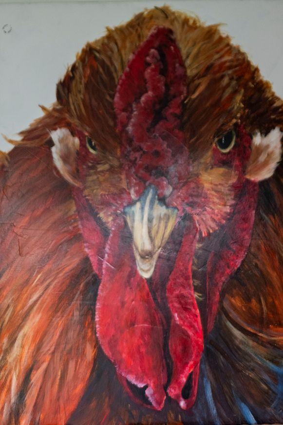 Beroeps-kunstschilder Geert De Meyer schilderde een portret van een haan toen hij ziek was.