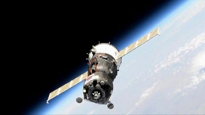Een eerdere vlucht van een MS-14 capsule op weg naar het ISS.