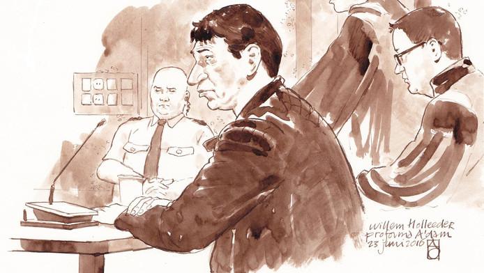 Willem Holleeder op een rechtbanktekening van juni vorig jaar