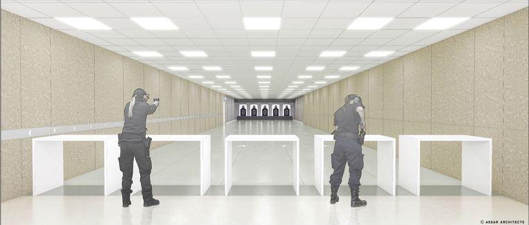 Een schets van de toekomstige schietbanen.