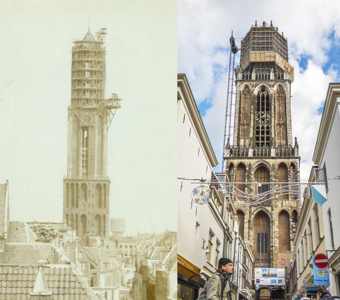 Ook nu staat de Domtoren in de steigers voor een ingrijpende restauratie. De foto rechts is gemaakt vanaf de Vismarkt.