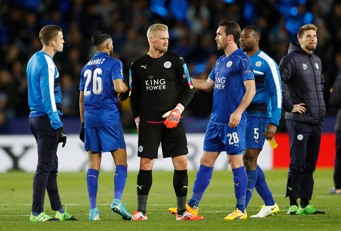 Britain Football Soccer - Leicester City v Atletico Madrid - UEFA Champions League Quarter Final Second Leg - King Power Stadium, Leicester, England - 18/4/17 Leicester City's Riyad Mahrez, Kasper Schmeichel and Christian Fuchs after the match   Action Images via Reuters / Carl Recine Livepic