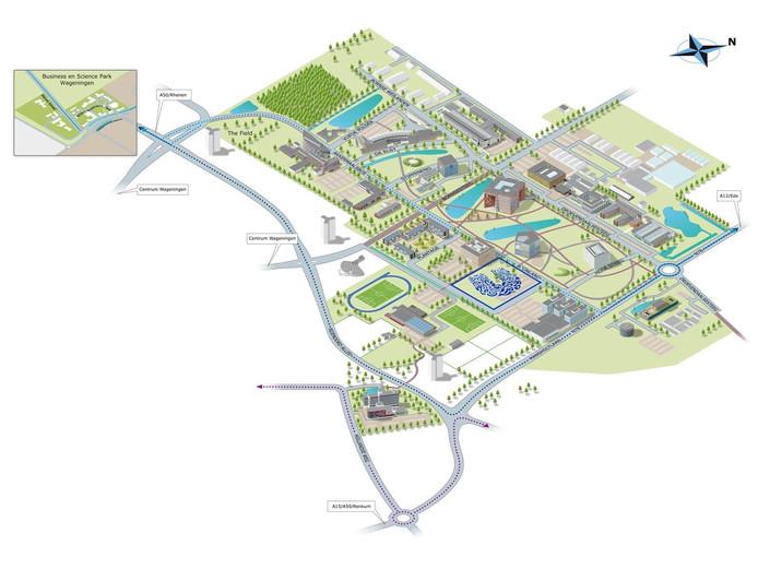 Schets van Unilever op de Wageningen Campus.