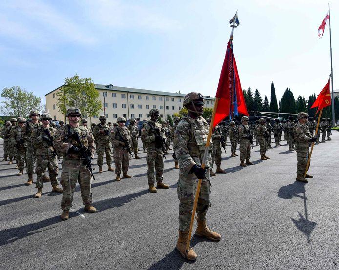 Amerikaanse militairen bij de openingsceremonie van operatie 'Noble Partner 2020'.
