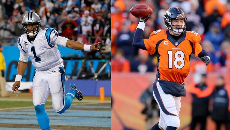 Cam Newton vs Peyton Manning: jong tegen oud, progressief tegenover conservatief. Beeld afp