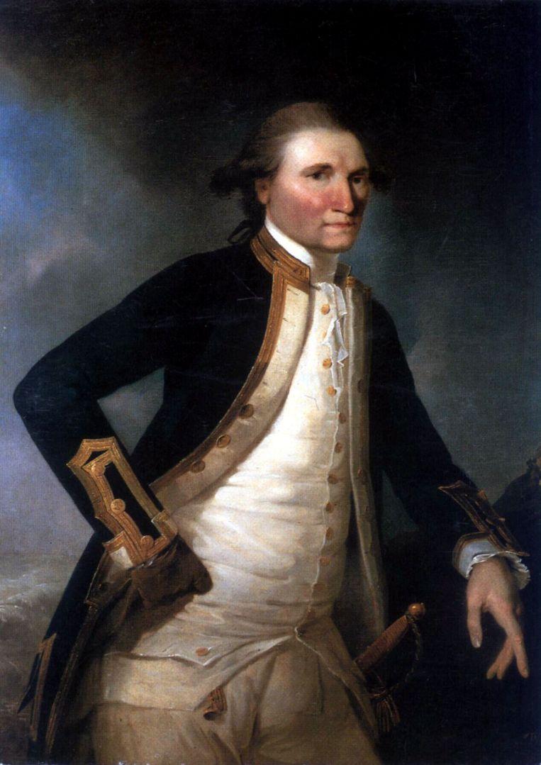 Een portret van James Cook uit 1782 van John Webber.  Beeld afp