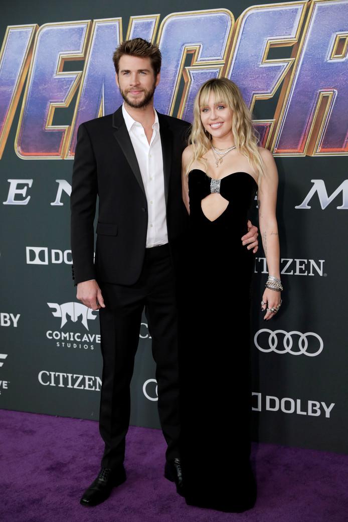 Liam Hemsworth et Miley Cyrus, à l'avant-première d'Avengers, à Los Angeles, le 22 avril.