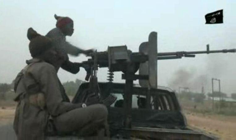 Strijders van Boko Haram in een videostill van videobeelden die de groep vrijgaf op 2 januari, 2018.