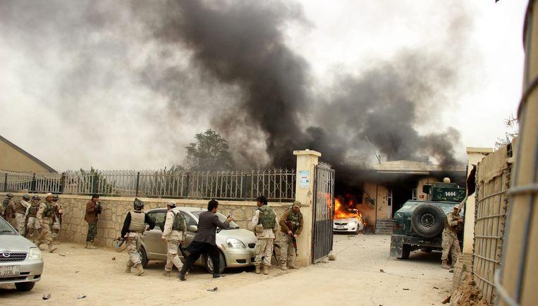 Zeker acht mensen kwamen vorige week om het leven bij een aanslag van de Taliban in Kunduz. Beeld epa