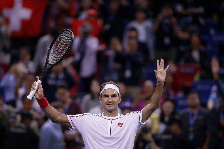 Federer na zijn winst tegen Goffin. De Zwitser won het toernooi van Shanghai al in 2017 en 2014.