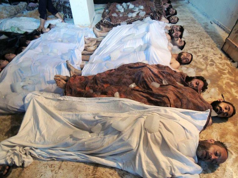 Slachtoffers van de chemische wapenaanval op 21 augustus in Ghouta. Beeld ap