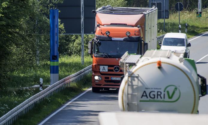 De betreffende tolzuil vlak over de grens bij Enschede