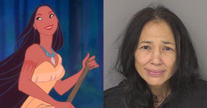 Irene Bedard, de stemactrice van 'Pocahontas', bij haar arrestatie