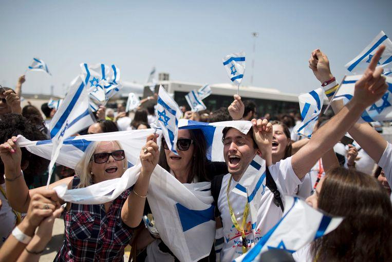Joodse immigranten komen aan in Israël. Beeld EPA