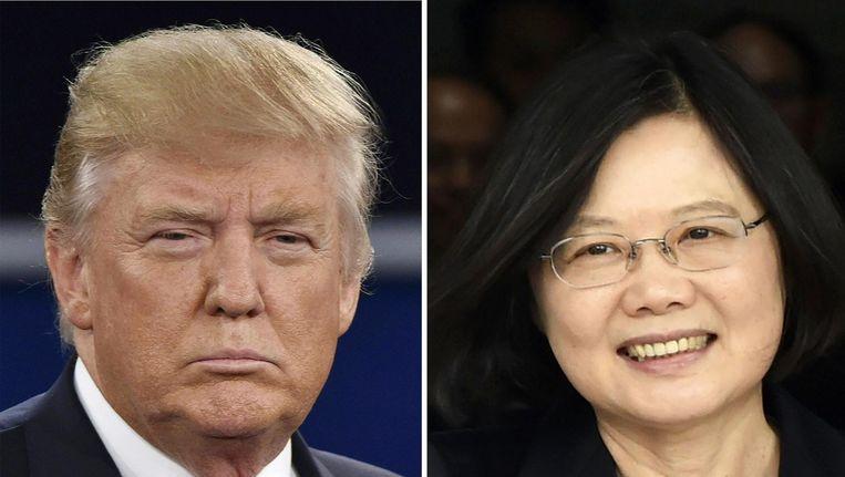 Donald Trump, toekomstig president van de Verenigde Staten en president Tsai Ing-wen van Taiwan. Beeld afp