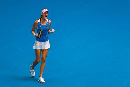 Kristina Mladenovic viert een punt.