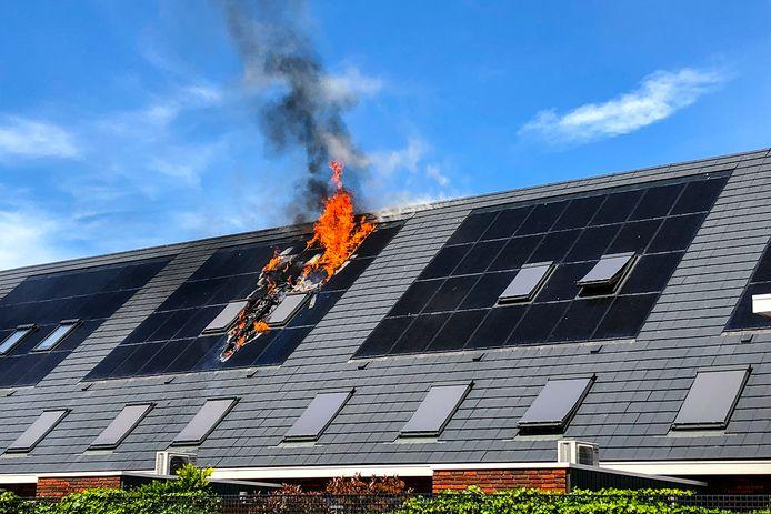 De zonnepanelen op het dak van de woning aan de Monteverdistraat waren in brand gevlogen.