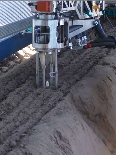 Een robotarm brengt mesjes tot onder aan de asperge.