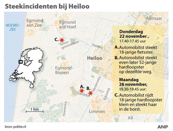 Drie steekincidenten op rij rond Castricum en Egmond.