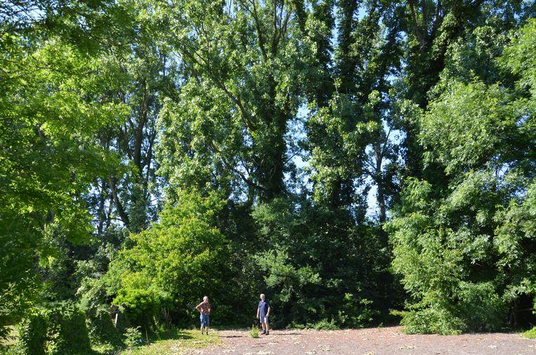 Grondeigenaars in hun tuin langs de Vogelzangbeek waar Groep Huyzentruyt een woningproject wilde realiseren.