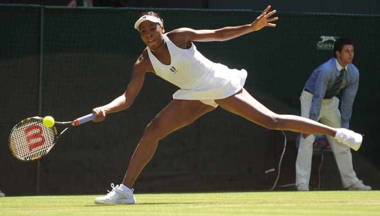 De 19-jarige Zwitserse Stefanie Vögele verslaan, ging Venus Williams dinsdag redelijk soepel af. Foto EPA Beeld