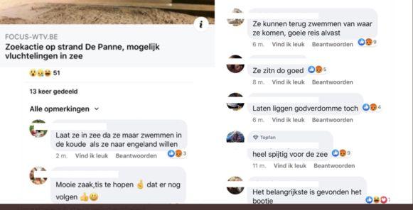 Racistische commentaren vluchtelingen De Panne
