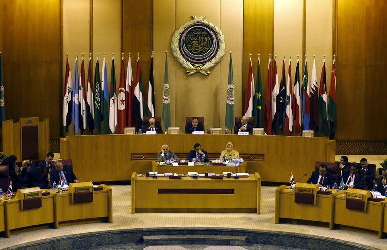 De vergadering van de uit 22 lidstaten bestaande Arabische Liga, zondag in Caïro. Beeld ap