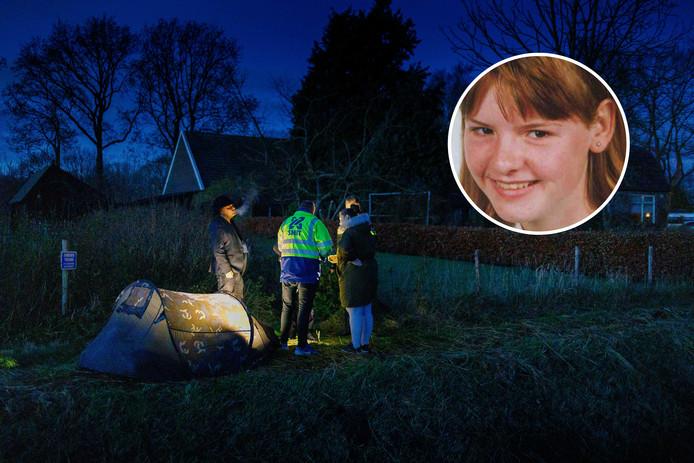 Zoekgroep Wileke Dost sloeg eerder een tentje op langs het perceel waar volgens hen de stoffelijke resten van Willeke begraven moeten liggen.
