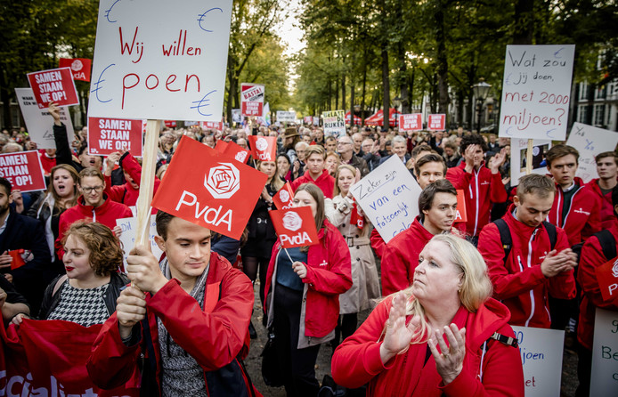 De protestmars in Den Haag.