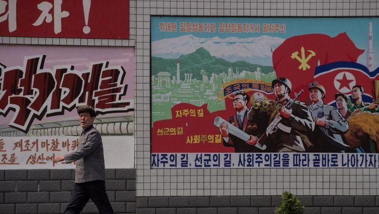 Oorlogspropaganda op straat in Noord-Korea. Beeld afp