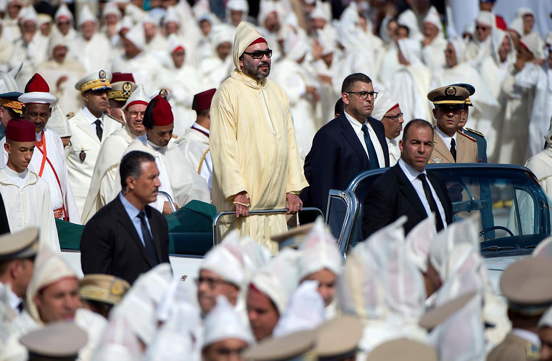 De Marokkaanse koning Mohammed VI in 2018 tijdens de viering van zijn 19de jubileum, in de stad Tétouan.