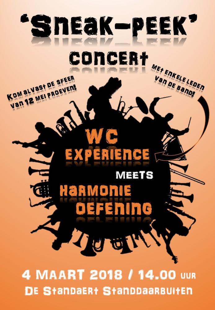 De poster van het concert van Harmonie Oefening op 4 maart.