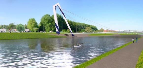 Over de watersportbaan komt een brug die aan een zijde van het water ophangt aan een grote blauw-witte haak.