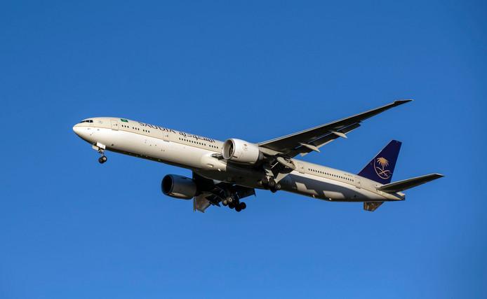 Een vliegtuig van maatschappij Saudia.