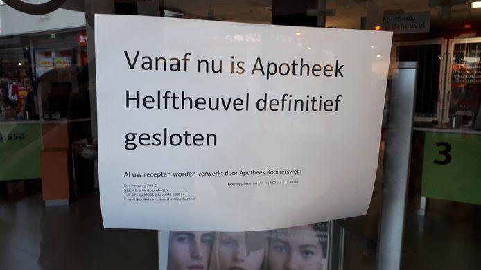 Apotheek Helftheuvel is definitief dicht
