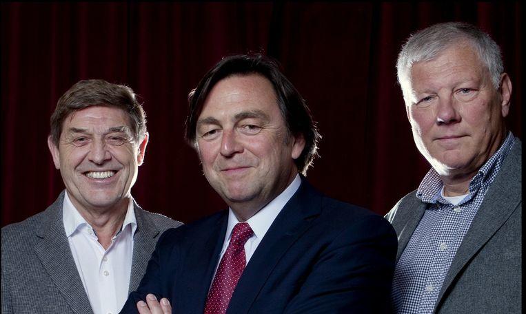 Drie commissarissen van Ajax: Theo van Duivenbode, voorzitter Hans Wijers (midden) en Leo van Wijk, de beoogd opvolger van Wijers. Beeld null