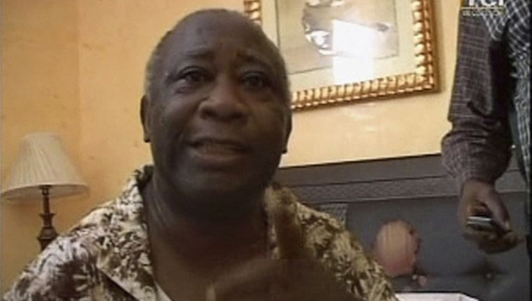 Gbagbo tijdens de uitzending Beeld reuters