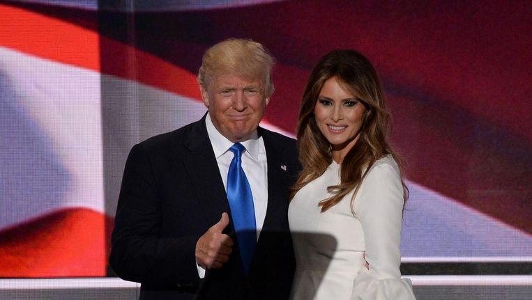 Donald Trump (l) en zijn vrouw Melania Trump op de Republikeinse conventie in Cleveland. Beeld afp