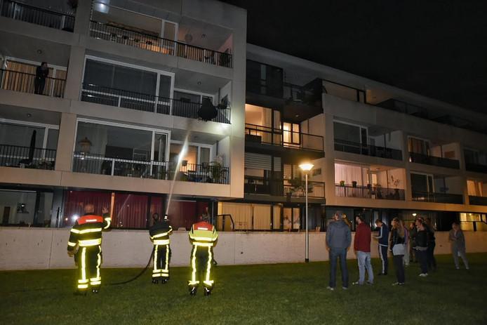 Brandweerlieden probeerden vanaf beneden het vuur te blussen.
